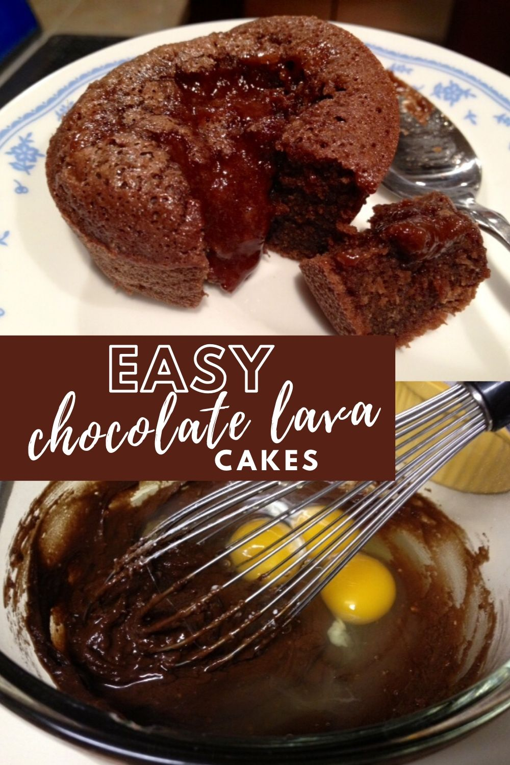 Easy Chocolate Lava Cakes | These easy homemade chocolate molten lava cakes are delicious and fast, not fussy at all.  Wow friends and family with this special dessert on any night of the week.  Easy chocolate dessert, fast dessert recipe.  #dessertrecipe #chocolatedessert #lavacakes #easydessert