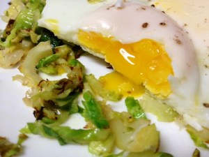 basted eggs with brussels sprouts