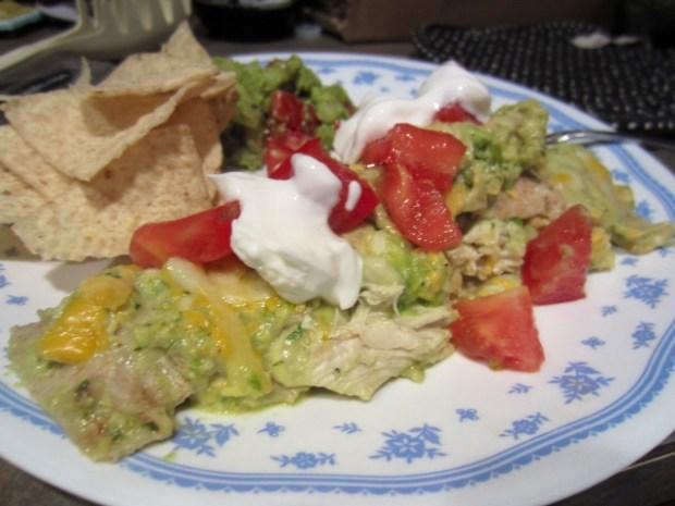 chicken avocado enchiladas finished garnished