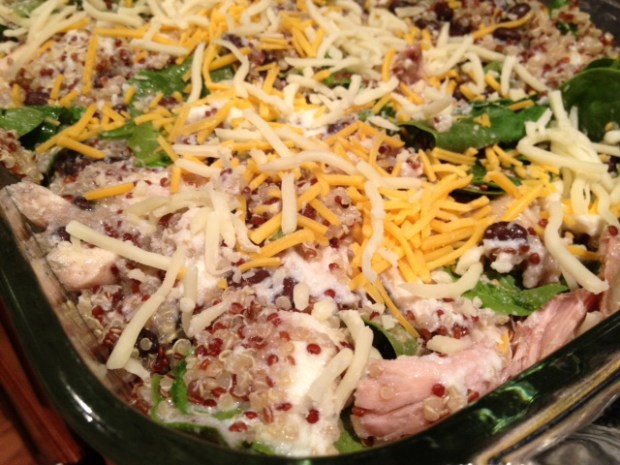 chicken black bean spinach quinoa casserole ready to bake