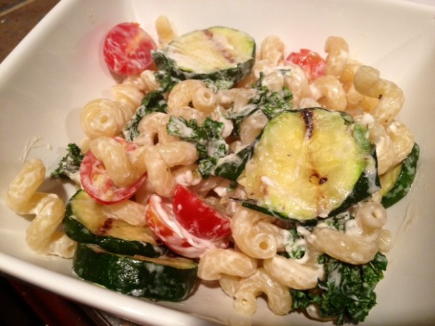 cavatappi goat cheese zucchini finished4