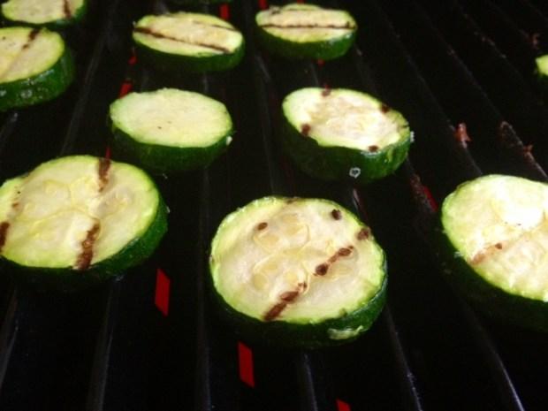 cavatappi goat cheese zucchini grilled closeup