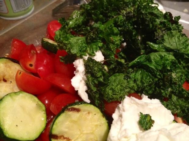 cavatappi goat cheese zucchini tomatoes goat cheese kale
