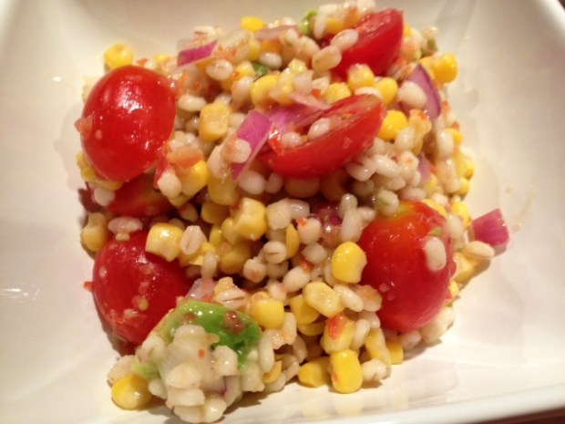 chicken barley corn salad finished