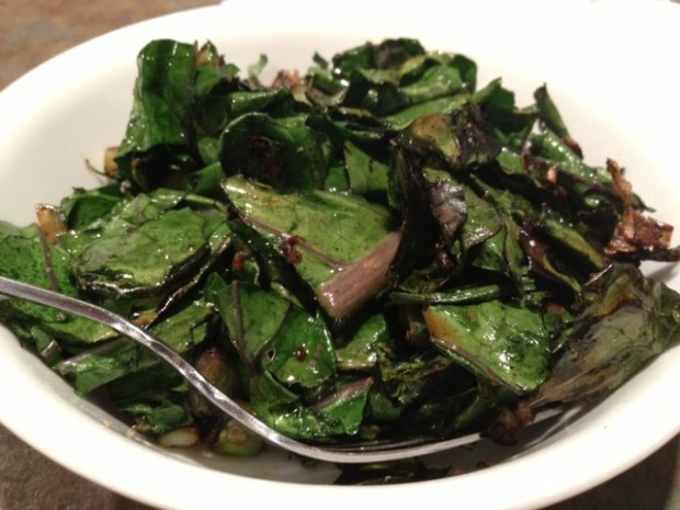 Kohlrabi Greens & Stems Sauteed with Green Onions