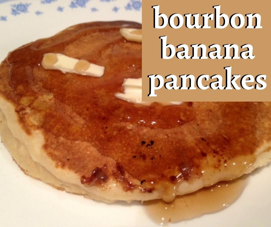 Bourbon Banana Pancakes | The perfect indulgent brunch recipe, fluffy and sweet with a boozy whiskey kick...and so easy.  This is one of the best pancake recipes you'll find, and a perfect way to use up overripe bananas #bananapancakes #brunchrecipe | finding time for cooking