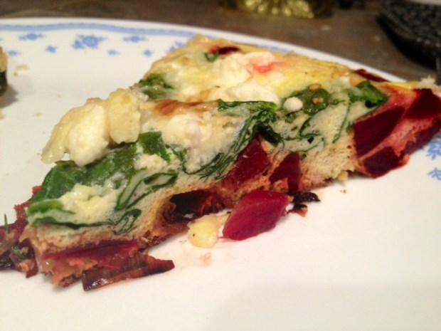 Feta, Leek, & Beet Frittata | This easy egg casserole is a perfect vegetarian meal, full of vegetables and protein and an interesting flavor combo.  A super easy weeknight meal or brunch. #frittata #beets #eggcasserole #vegetarian