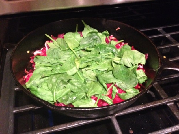 beet leek feta frittata spinach wilting