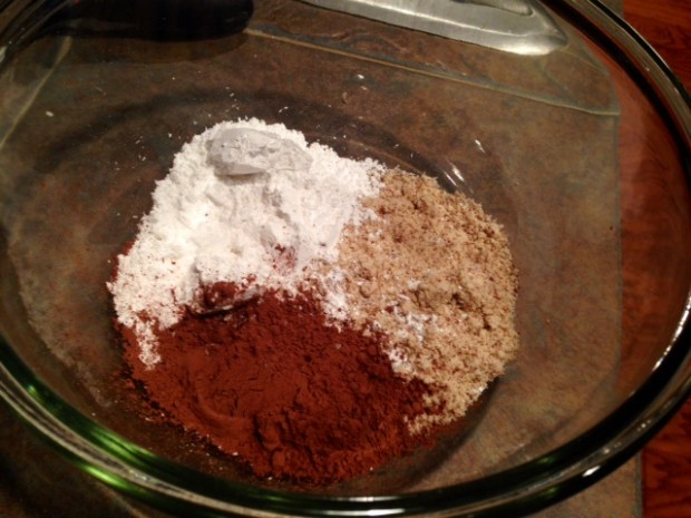 chocolate financiers dry ingredients