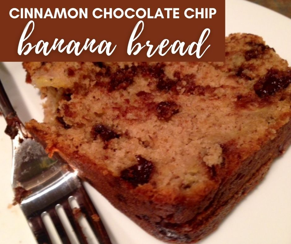 Cinnamon Chocolate Chip Banana Bread | A delicious & simple twist on classic banana bread, this neatly straddles the line between breakfast and dessert...easy banana bread recipe you'll love! #bananabread #cinnamon #chocolatechip #breakfast