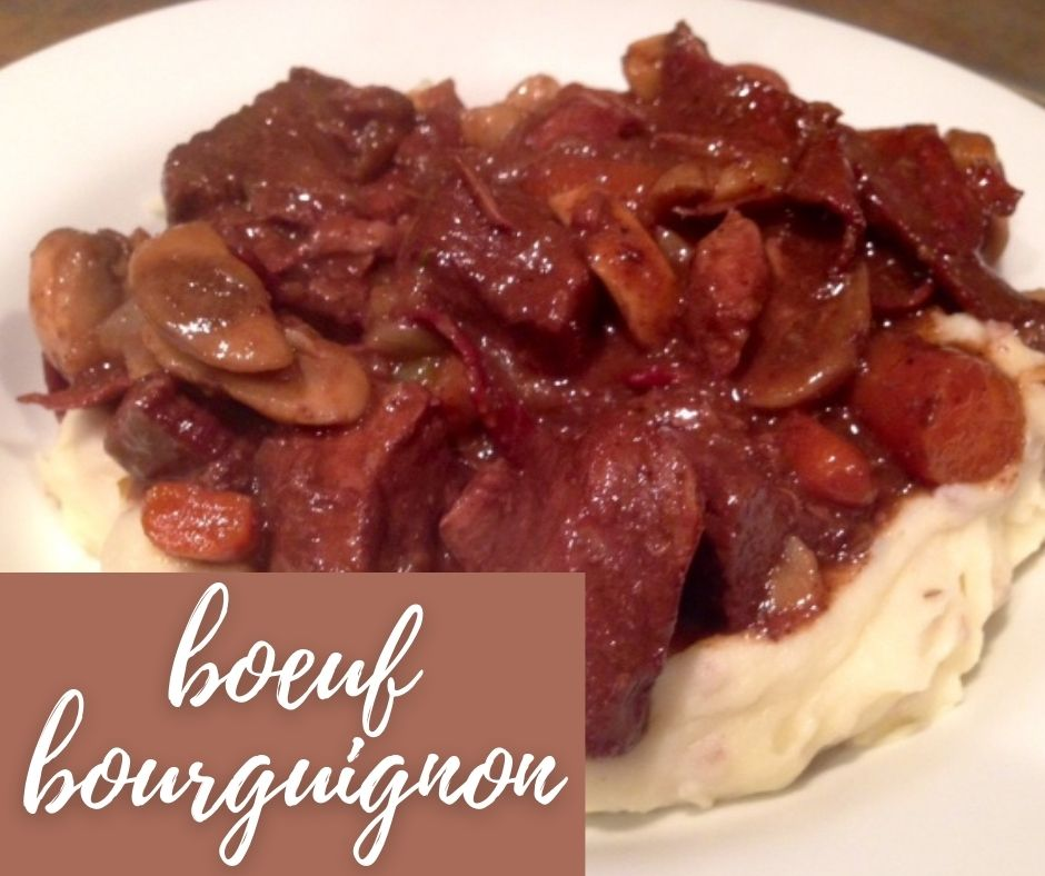 Julia Child's Classic Boeuf Bourguignon | This isn't simply a fancy beef stew, it's the most flavorful beef dish ever! And it may be intimidating but it actually is quite simple (if a little time consuming).  A delicious beef dinner recipe that everyone should try out, and perfect for a special occasion | finding time for cooking