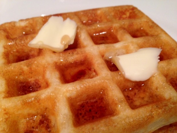 overnight raised yeast waffles closeup stack