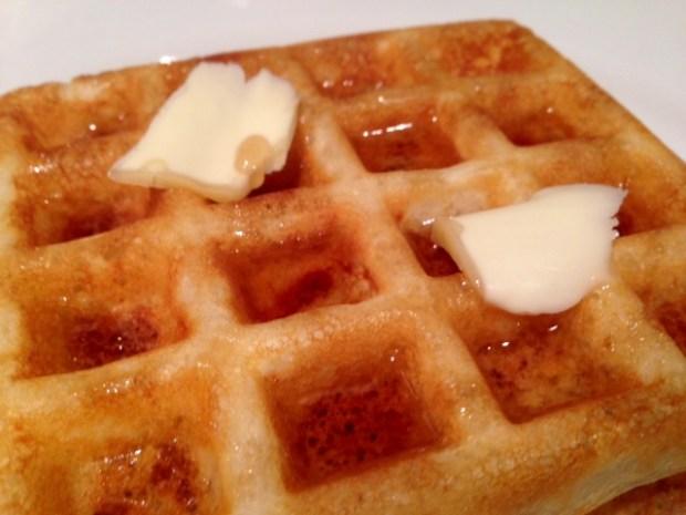 overnight raised yeast waffles closeup stack