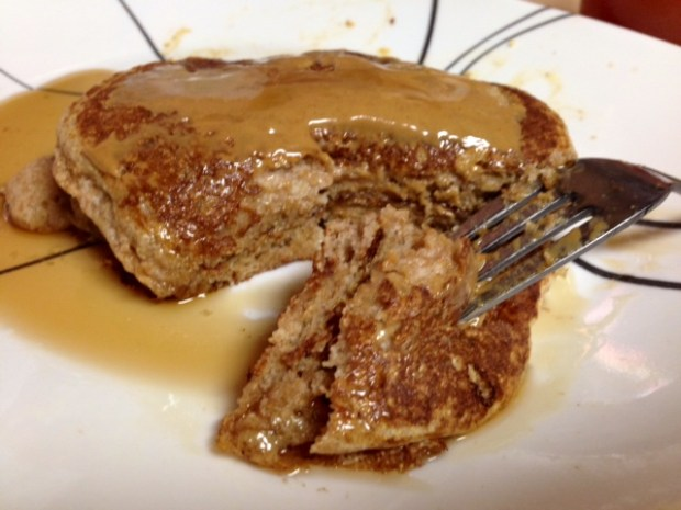 Buttermilk Pancakes with Peanut Butter & Syrup