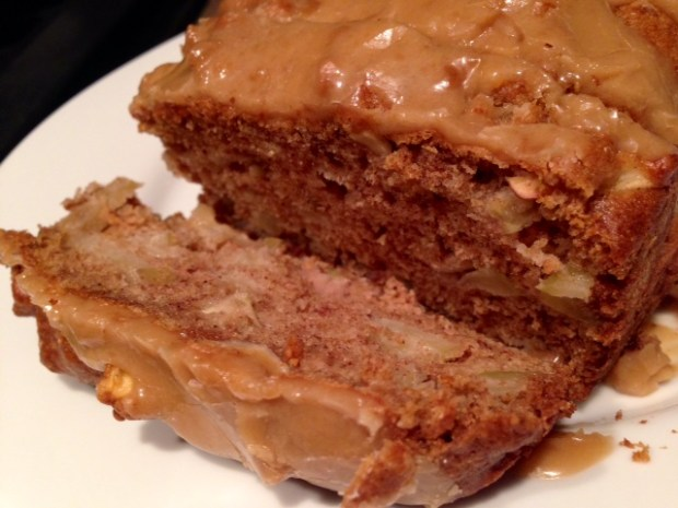 Caramel Glazed Apple Bread sliced