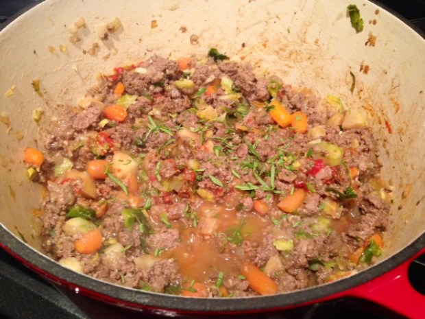 shepherds pie with carrot goat cheese mash filling
