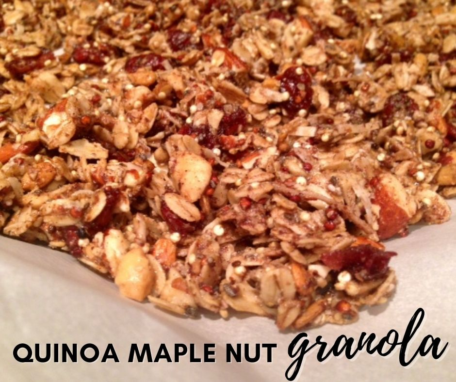 Quinoa Maple Nut Granola   This easy healthy granola recipe is unique with the quinoa making these little crispy puffs, lighter than traditional granola.  Healthy gluten-free breakfast recipe, and great crumbled on yogurt. #granola #quinoa #maple
