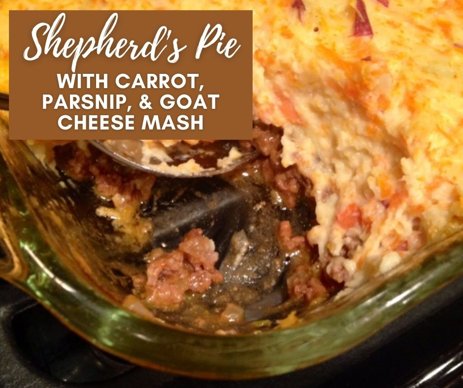 Twist on Shepherd's Pie with Carrot, Parsnip, & Goat Cheese Mash | This delicious twist on a classic shepherd's pie recipe is hearty & comforting, with a beef & brussels sprout filling and a tangy, light topping. Comfort food dinner recipe. What to do with parsnips. #comfortfood #shepherdspie #goatcheese #parsnips