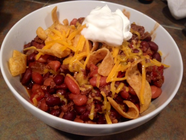 My Chili with Cheese Corn Chips & Sour Cream