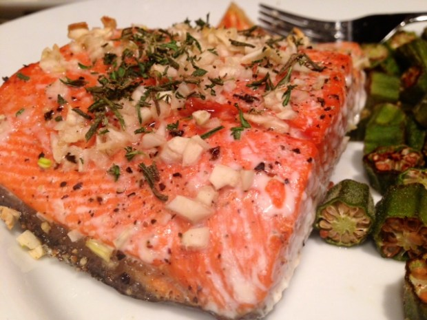 Rosemary & Garlic Roasted Salmon done