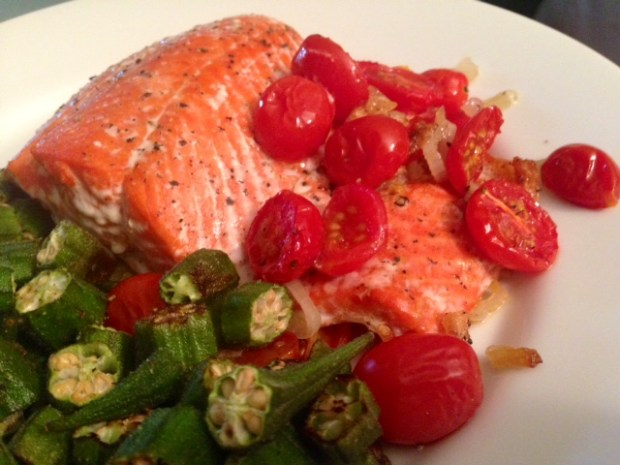 Roasted Salmon with Shallots & Tomatoes