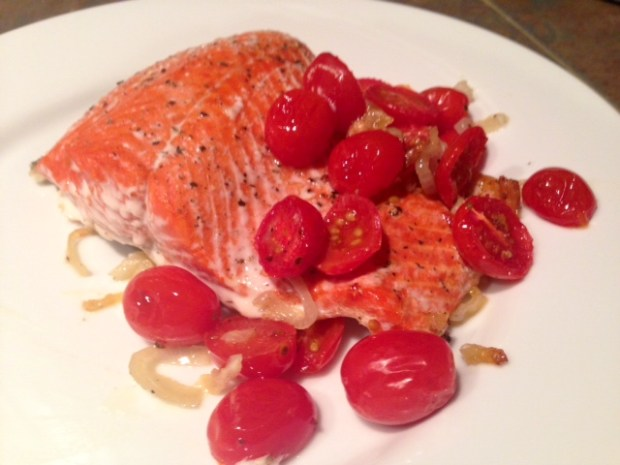 roasted salmon with shallots & tomatoes done