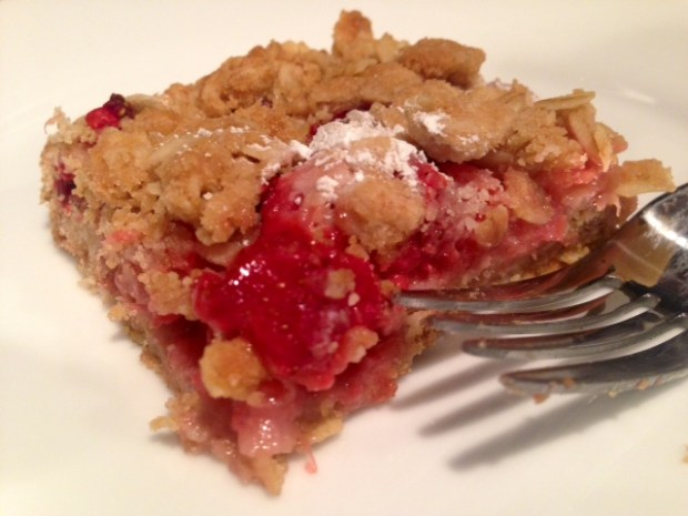 Strawberry Rhubarb Crumb Bars piece