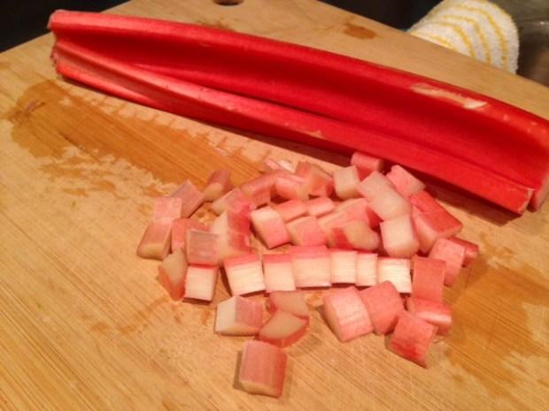 strawberry rhubarb crumb bars rhubarb chopped2