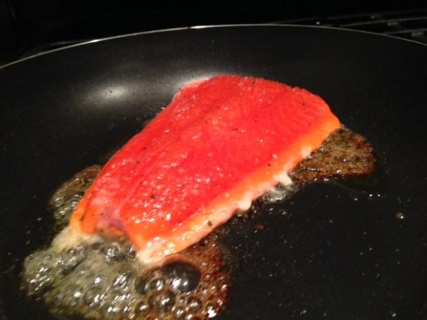 pan caramelized salmon cooking