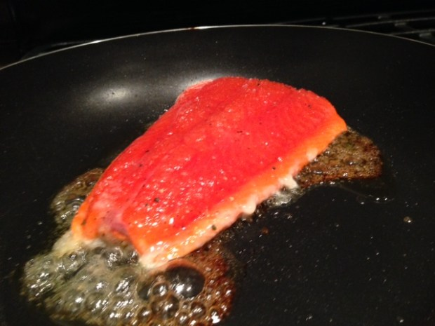 pan caramelized salmon cooking