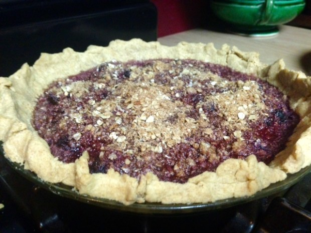 bing cherry pie with streusel baked