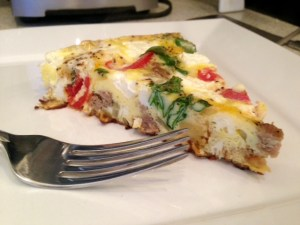 Frittata with Caramelized Onions, Parsnips, & Goat Cheese