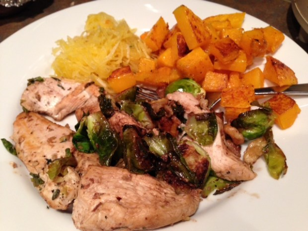 Balsamic Chicken & Brussels Sprouts with sides