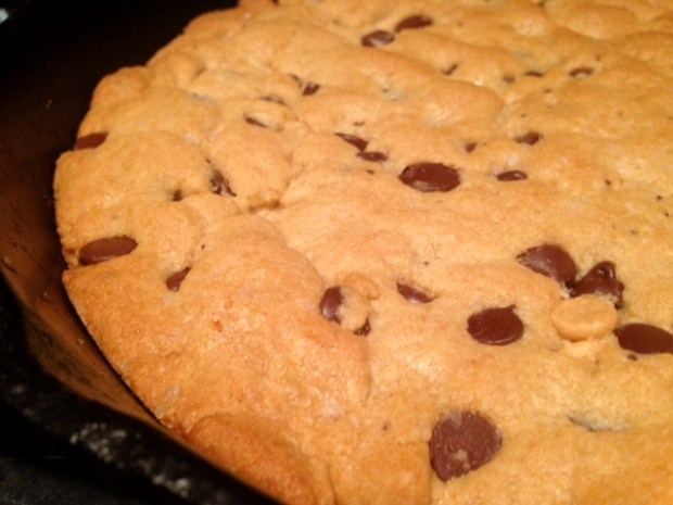 giant chocolate peanut butter chip skillet cookie baked