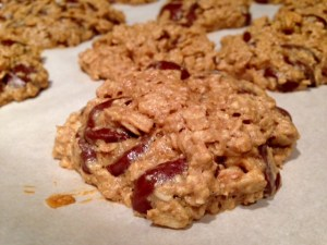 maple peanut butter oatmeal chocolate chip cookie baked