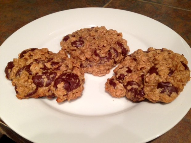 Maple Peanut Butter Oatmeal Chocolate Chip Cookies done
