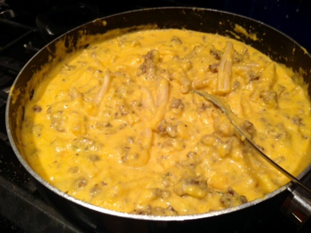 stove-top butternut squash mac & cheese pasta hamburger