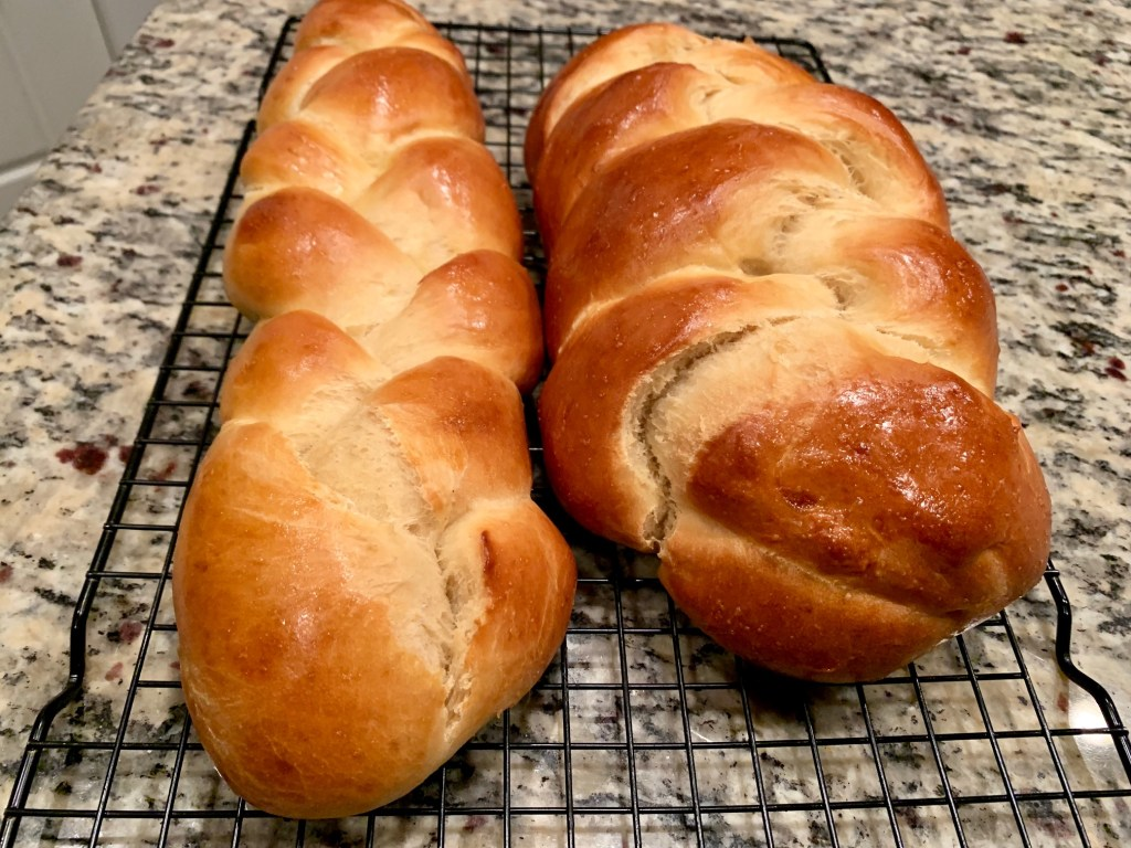 easy challah bread, recipe makes 2 loaves