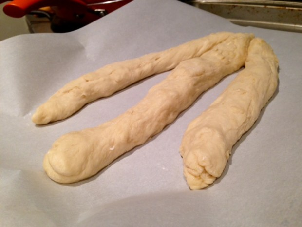 easy awesome challah bread dough three rolls