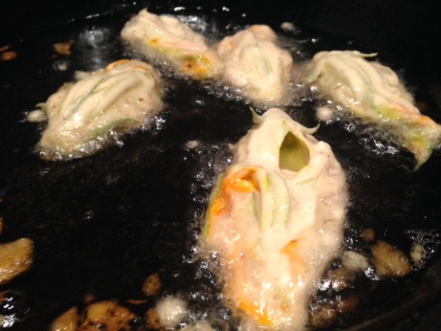 fried squash blossom battered frying