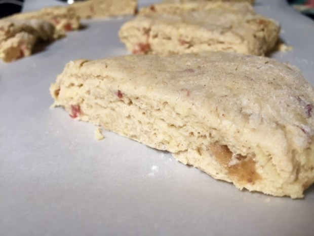 apple pie scones wedges ready to bake closeup