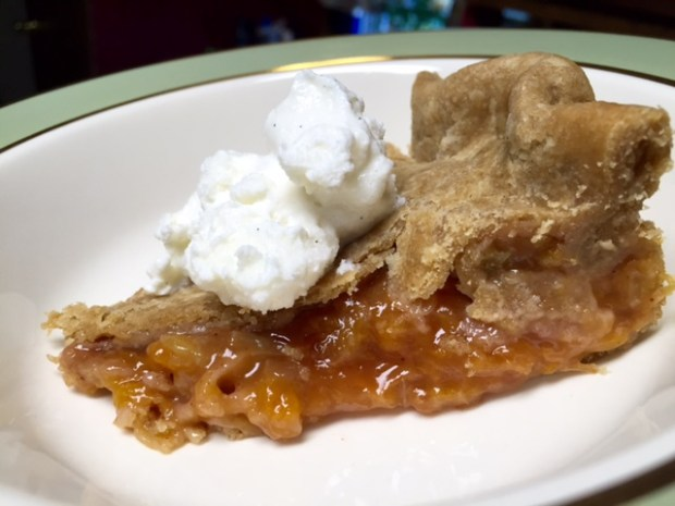 Peach Rhubarb Pie with Ice Cream