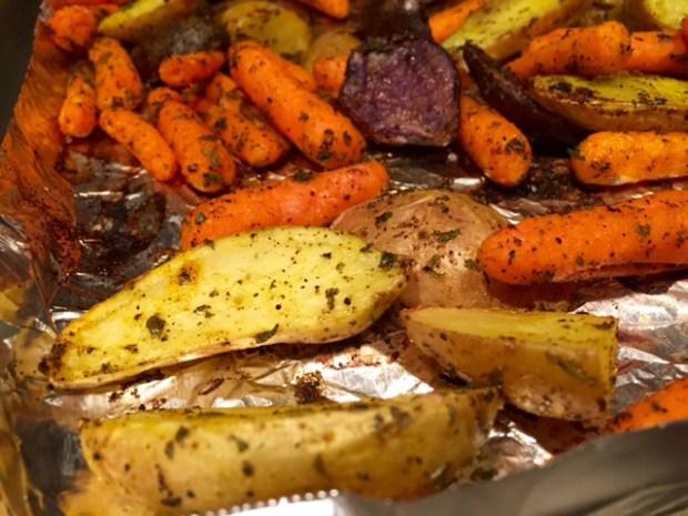 Roasted Carrots & Potatoes with Turmeric closeup