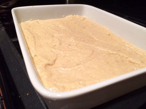 banana cake with caramel frosting ready to bake