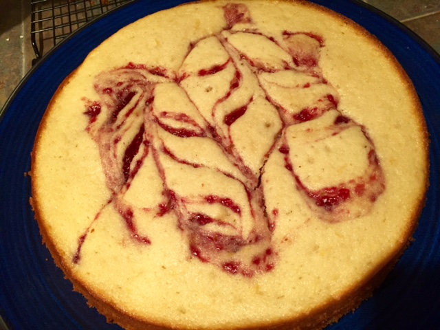 Lemon Cake with Raspberry Jam Swirl & Raspberry Icing