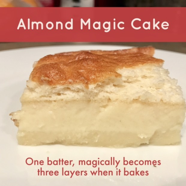 Obsessed with this almond-flaved magic cake...becomes three different layers while it bakes, sooo yummy