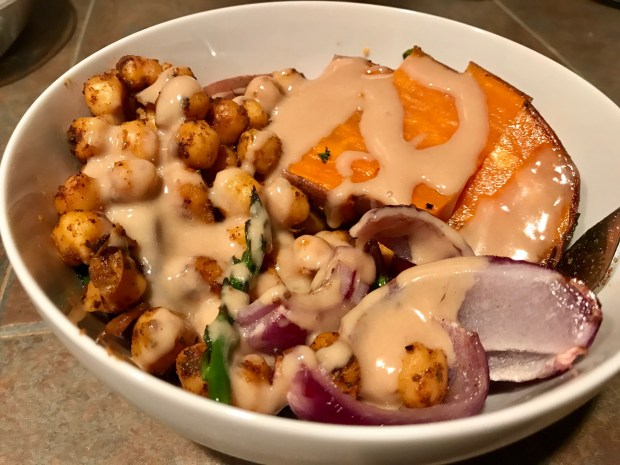 Sweet Potato Chickpea Buddha Bowl with Maple Tahini Sauce | Finding Time for Cooking