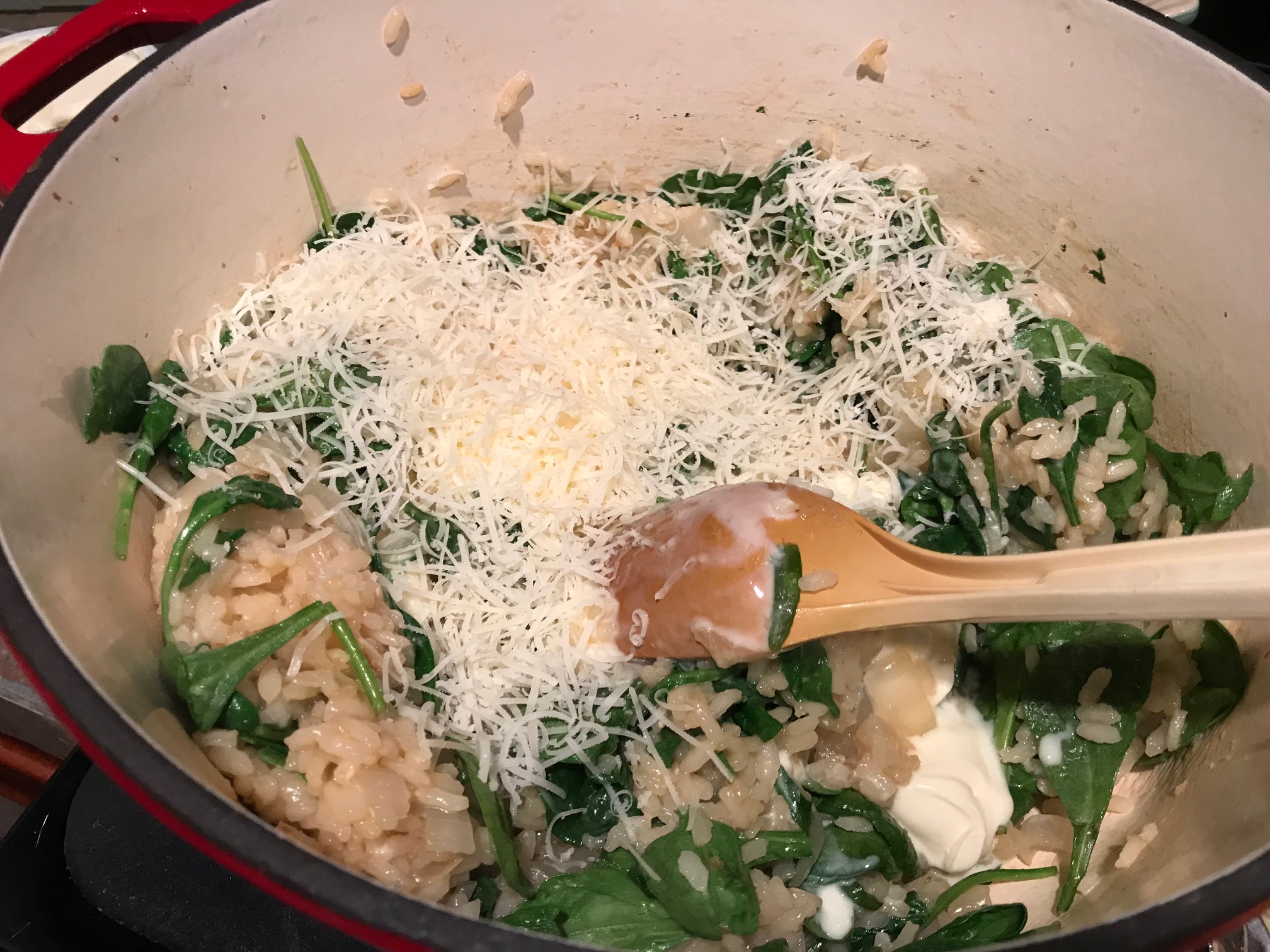 Creamy Oven Risotto with Spinach, Roasted Cauliflower, & Sage | easy vegetarian dinner recipe, fancy but hands-off for a stress-free dinner party, delicious meatless recipe, meatless Mondays, easy risotto #risotto #vegetarian #recipe