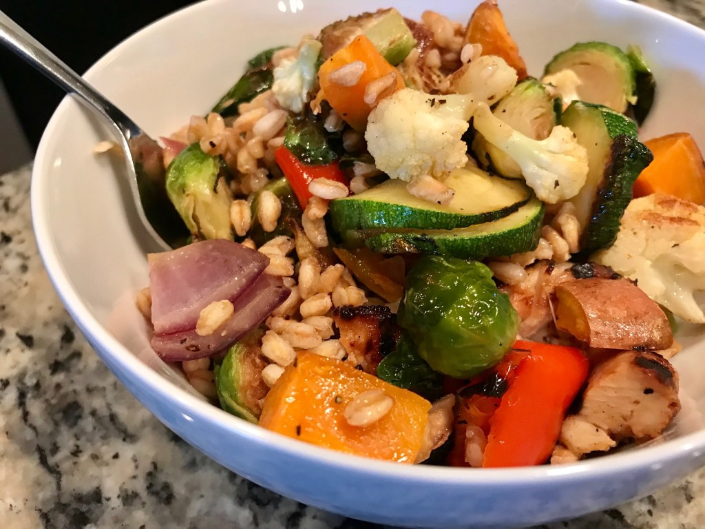 Roasted Vegetable & Grain Salad with Creamy Shallot Dressing | finding time for cooking