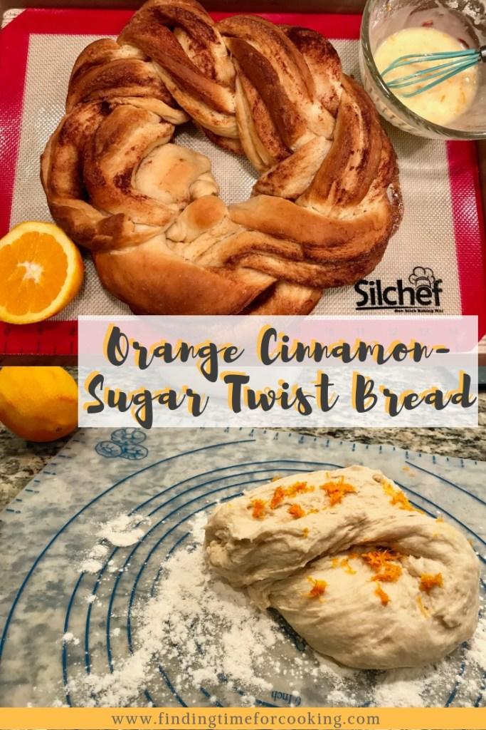 Orange Cinnamon-Sugar Twist Bread | Delicious, fragrant twisted wreath bread, with bright orange and cinnamon-sugar filling, and an orange glaze. Perfect brunch recipe, for dessert, breakfast, or snacking. #bread #dessert #orange #cinnamonsugar